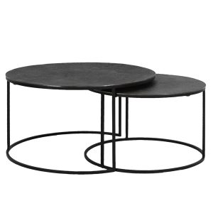 Textured Black Metal Coffee Tables Set of Two