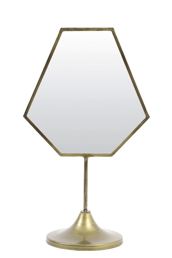 Free Standing Brass Geometric Mirror