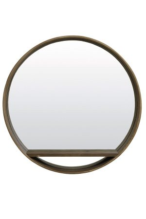 Round Dark Wood Mirror