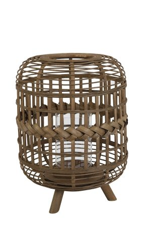 Brown Bamboo Plaited Lantern with Legs