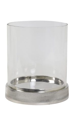 Glass & Nickel Tea Light Holder