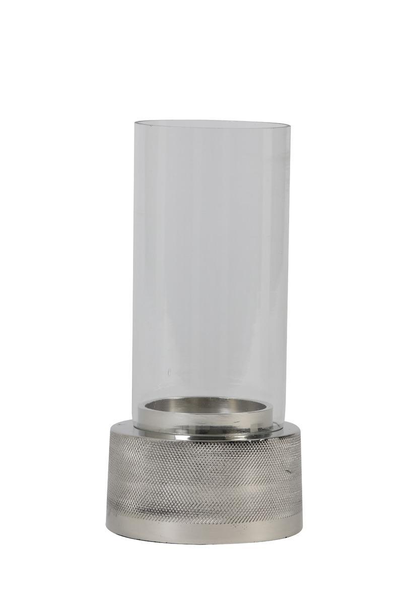 Glass & Nickel Tea Light Holder