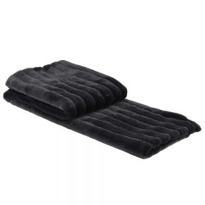 Barely Black Faux Fur Ribbed Throw