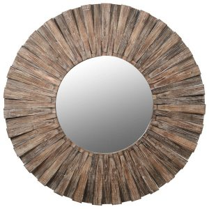 Fir Wood Round Mirror