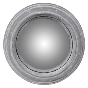 Small Grey Distressed Round Wall Mirror