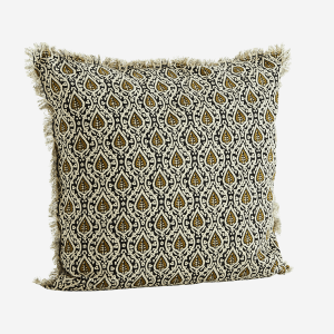 Printed Black & Olive Pattern Cushion with Fringes