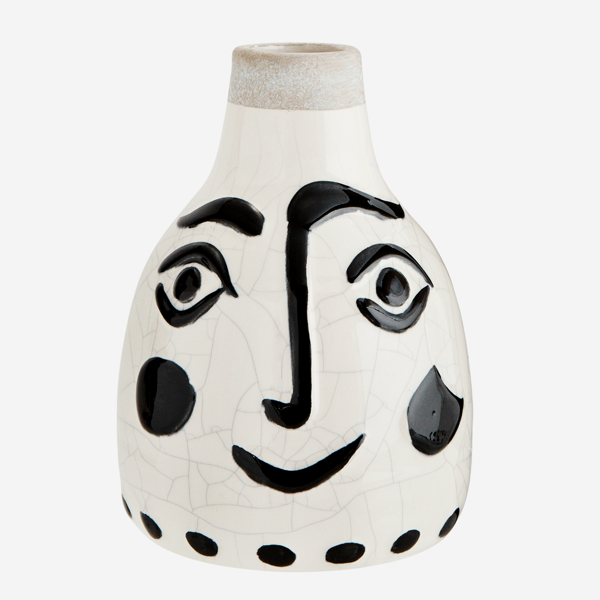 Ceramic Vase with Painted Smiley Face Large