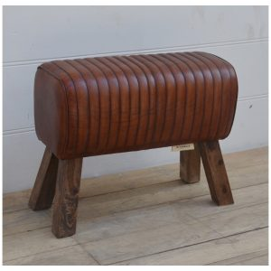 Brown Leather Pommel Stool