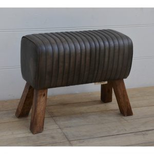 Black Leather Pommel Stool