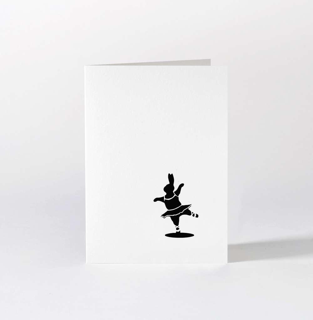 Ballet Dancing Rabbit Card