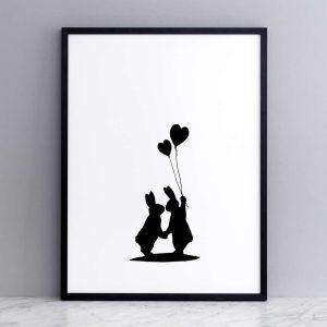 Framed Lovestruck Rabbit Print