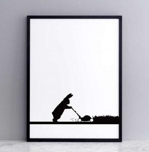 Framed Mowing Rabbit Print