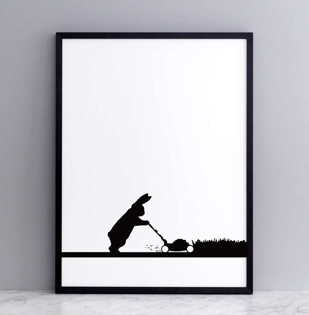 Framed Mowing Rabbit Print