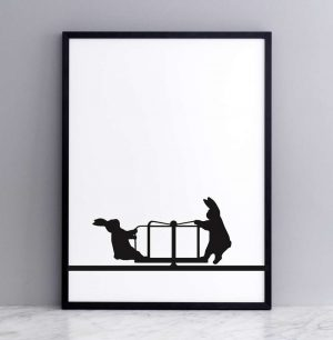 Roundabout Rabbit Print with Frame