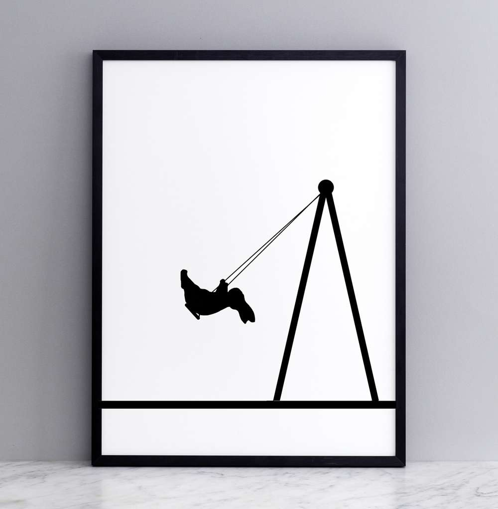 Swing Rabbit Print with Frame