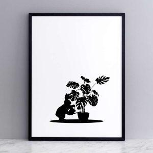 Framed Watering Rabbit Print