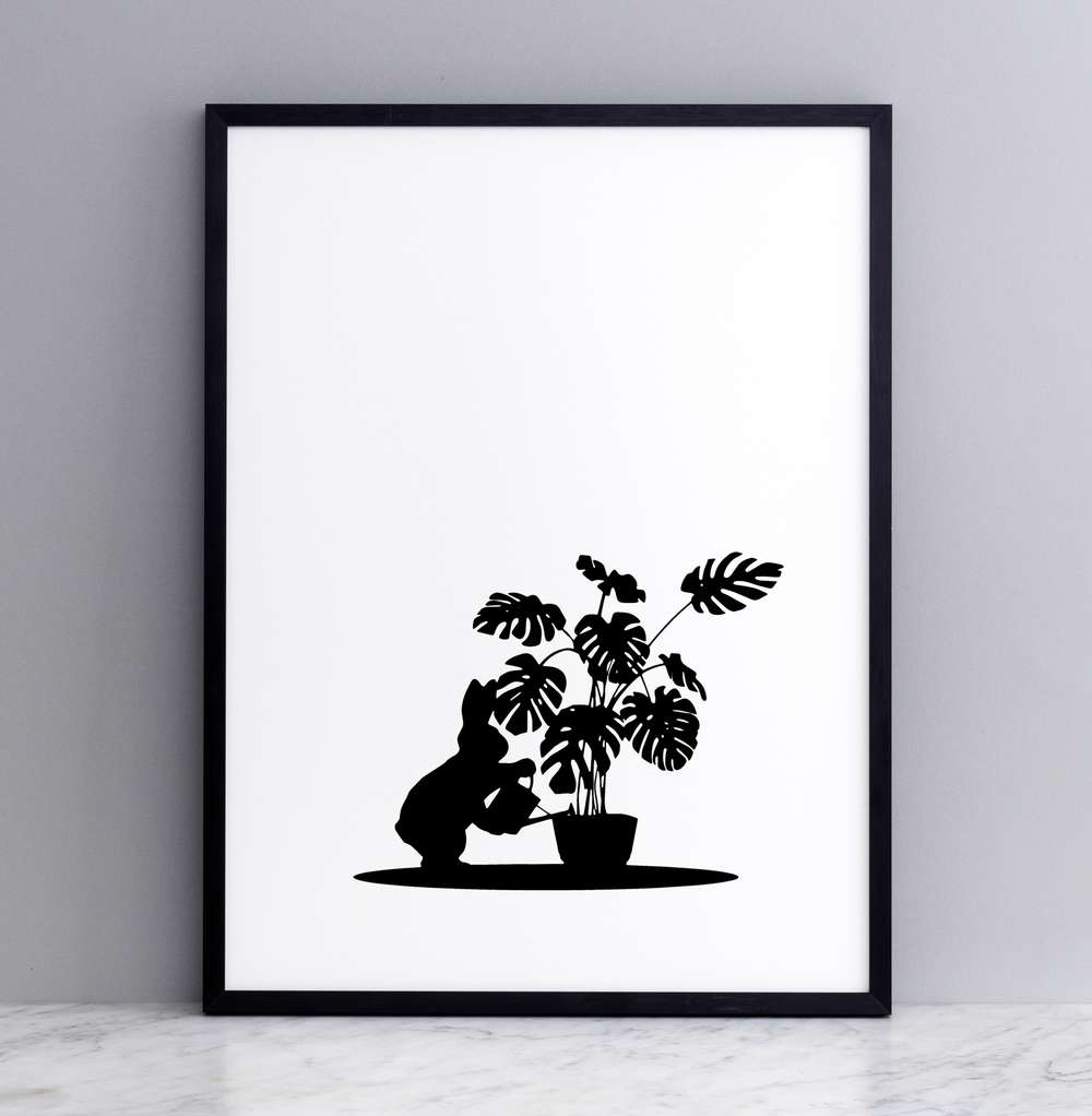 Framed Watering Rabbit Print