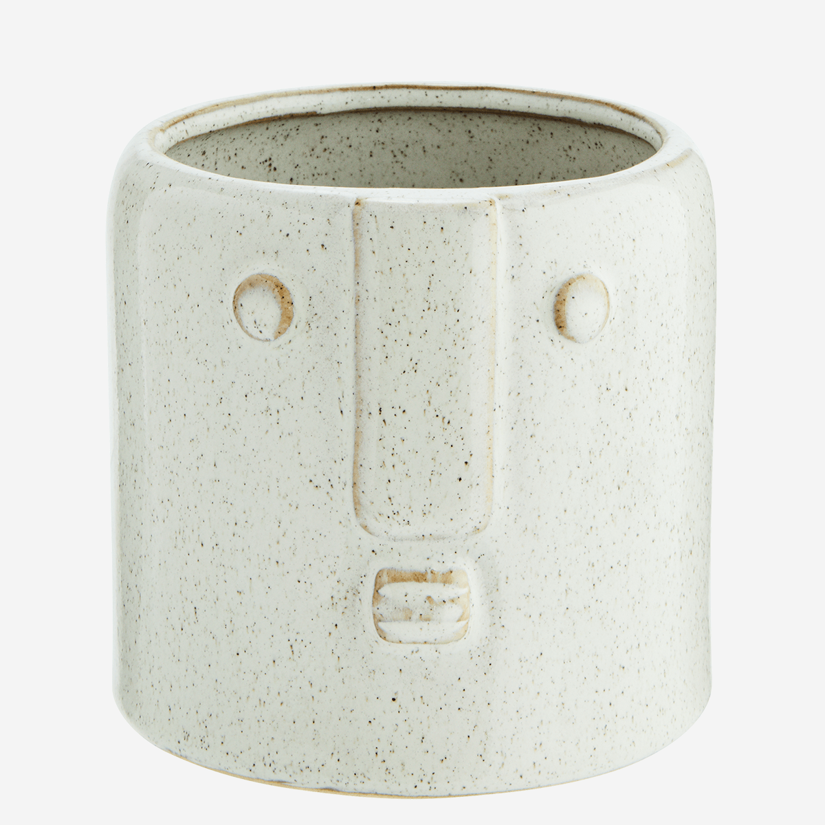 Large Off White Stoneware Pot with Face Imprint