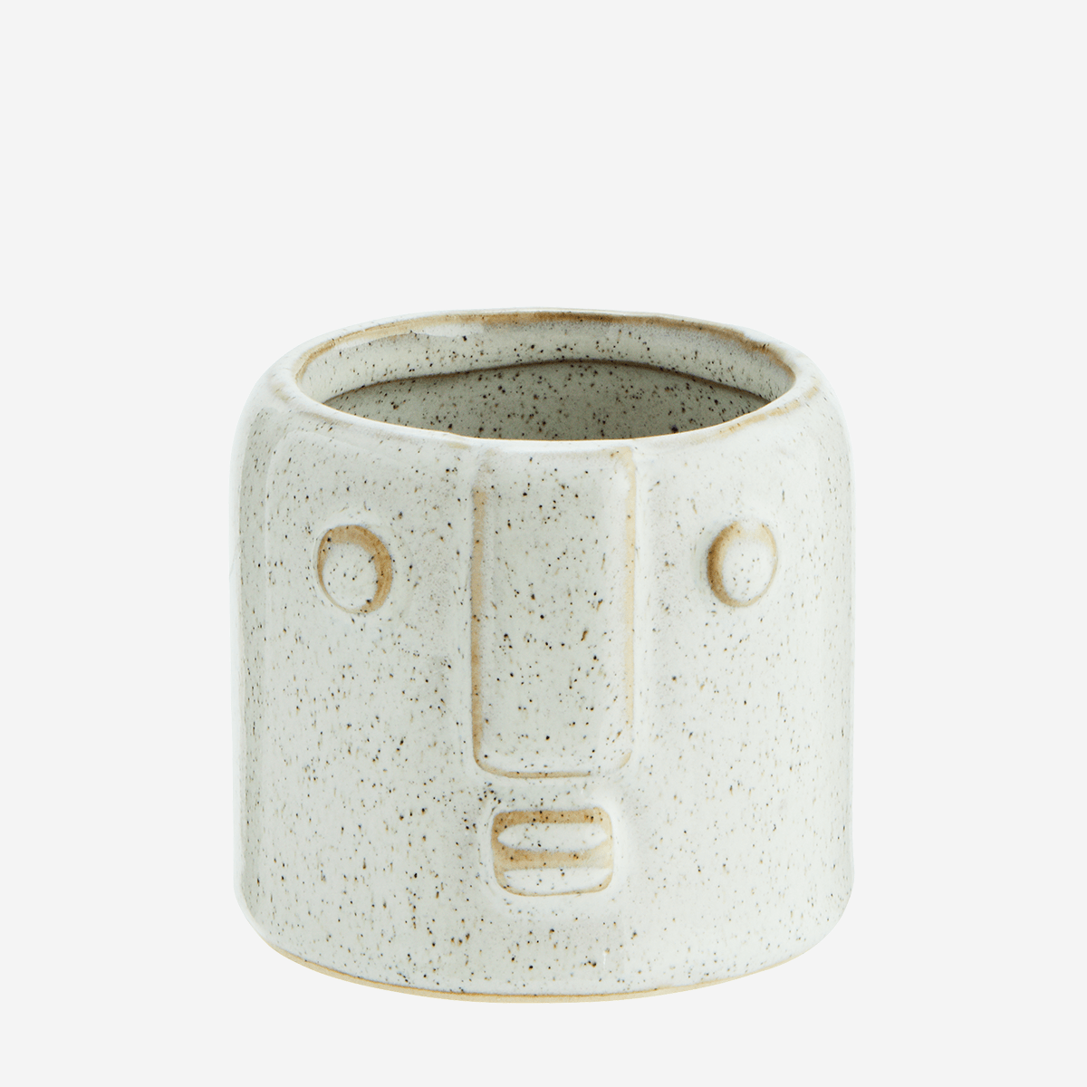 Off White Stoneware Pot with Face Imprint