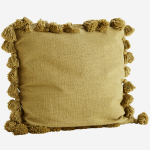 Mustard Cushion with Tassels