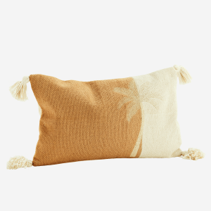 Brown Sugar Embroidered Palm Tree Cushion