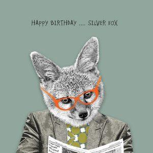 Happy Birthday Silver Fox Greetings Card