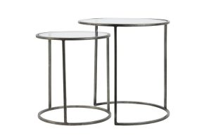 Glass Top Metal Side Tables Set of Two