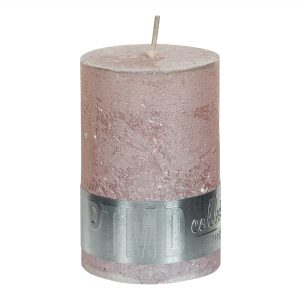 Metallic Pink Pillar Candle 6x4cm