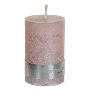 Metallic Pink Pillar Candle 8x5cm