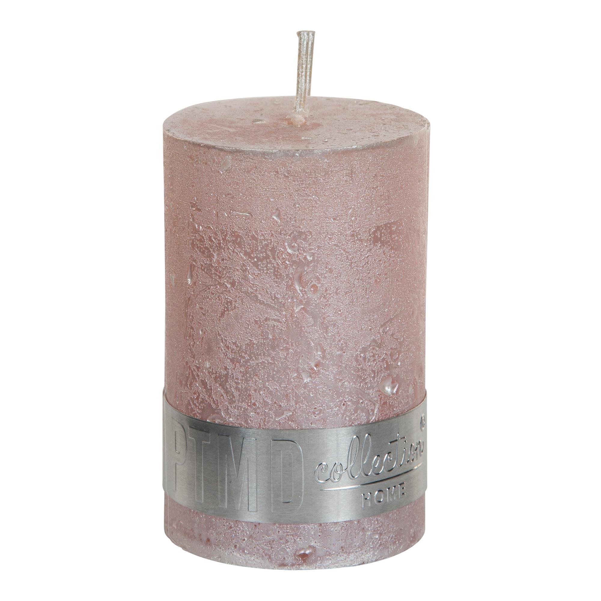 Metallic Pink Pillar Candle 8x5cm