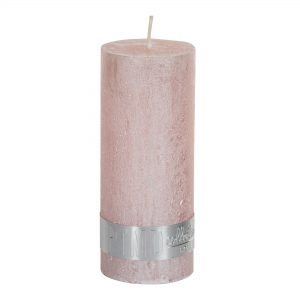 PTMD Metallic Pink Pillar Candle 12x5cm