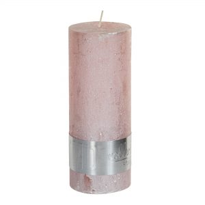 Metallic Pink Pillar Candle 18x7cm
