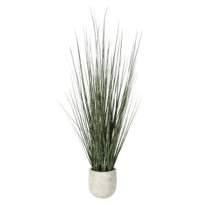 Brown & Green Mottled Onion Grass in Cream Stone-look Pot
