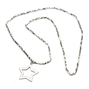 Open Star On Long Beaded Chain