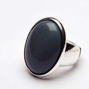Grey Oval Face Ring