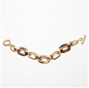 Gold & Taupe Resin and Chain Link Bracelet