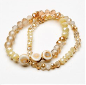 Cream Twin Strand Bead & Crystal Bracelet