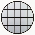 Beveled Black Iron Grid Mirror