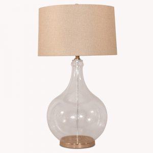 Bubble Glass Lamp with Herringbone Shade
