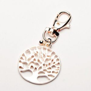 Pale Rose Tree of Life Keyring