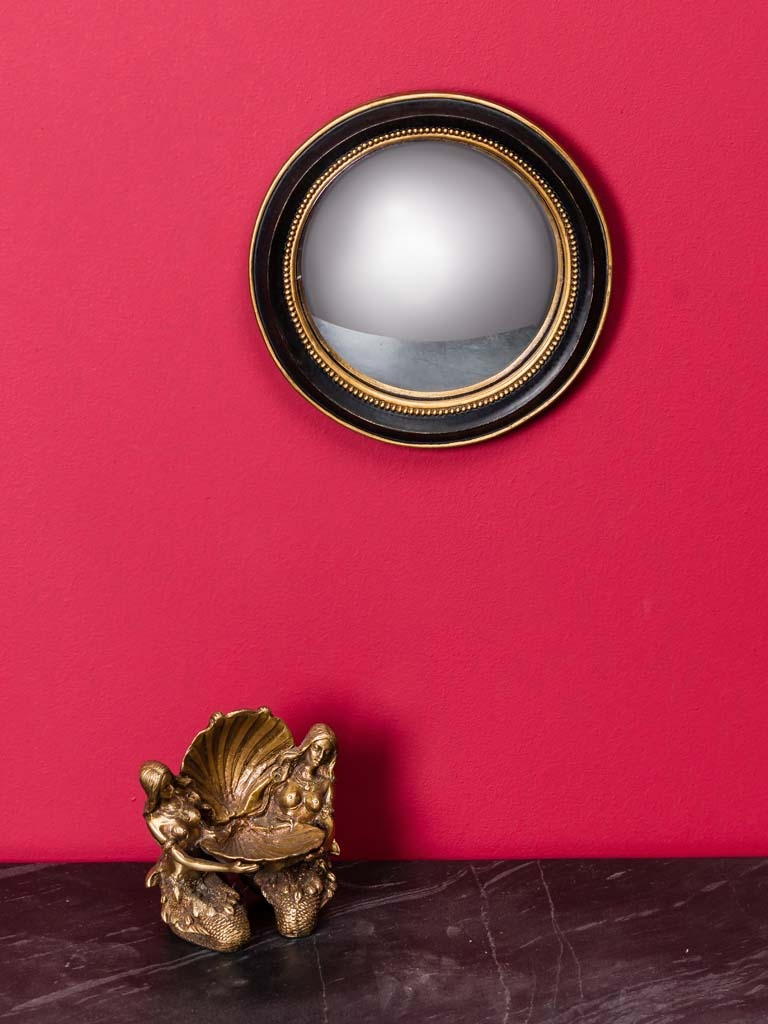 Small Black & Gold Framed Convex Wall Mirror