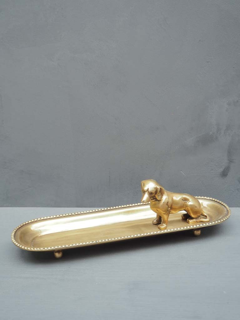 Gold Trinket Tray with Dog