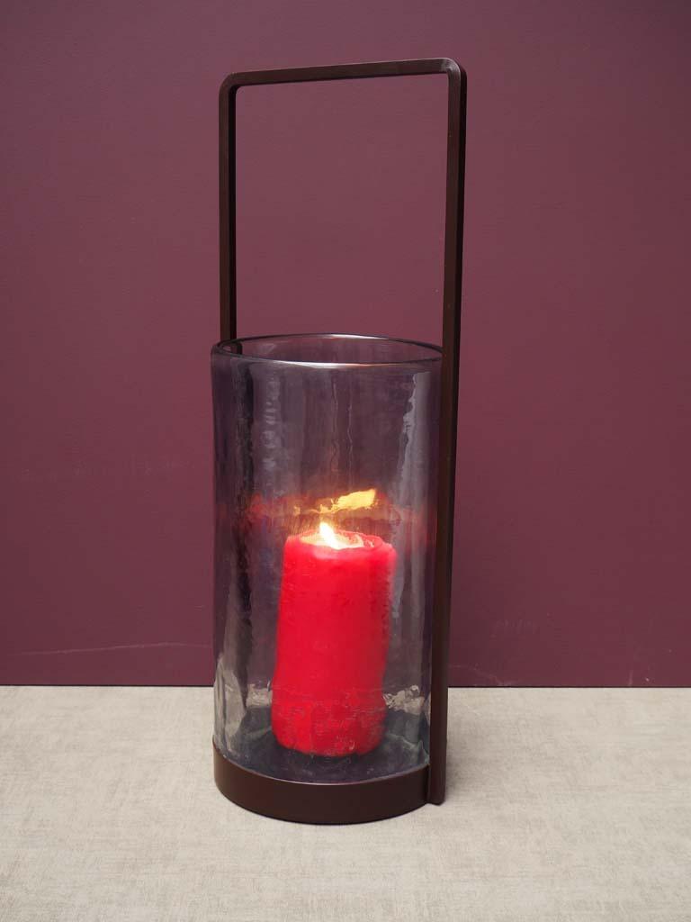Glass Lantern with Metal Handle