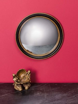 Medium Black & Gold Framed Convex Wall Mirror