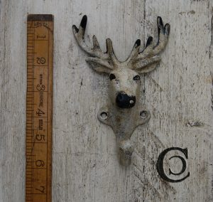 Distressed Deer Head Hook with Antique Patina Finish