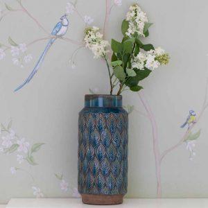 Tall Peacock Vase