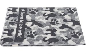 Large Grey Camouflage Pet Blanket 'Born To Be Wild'