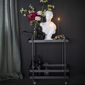 Black Metal & Glass Drinks Trolley
