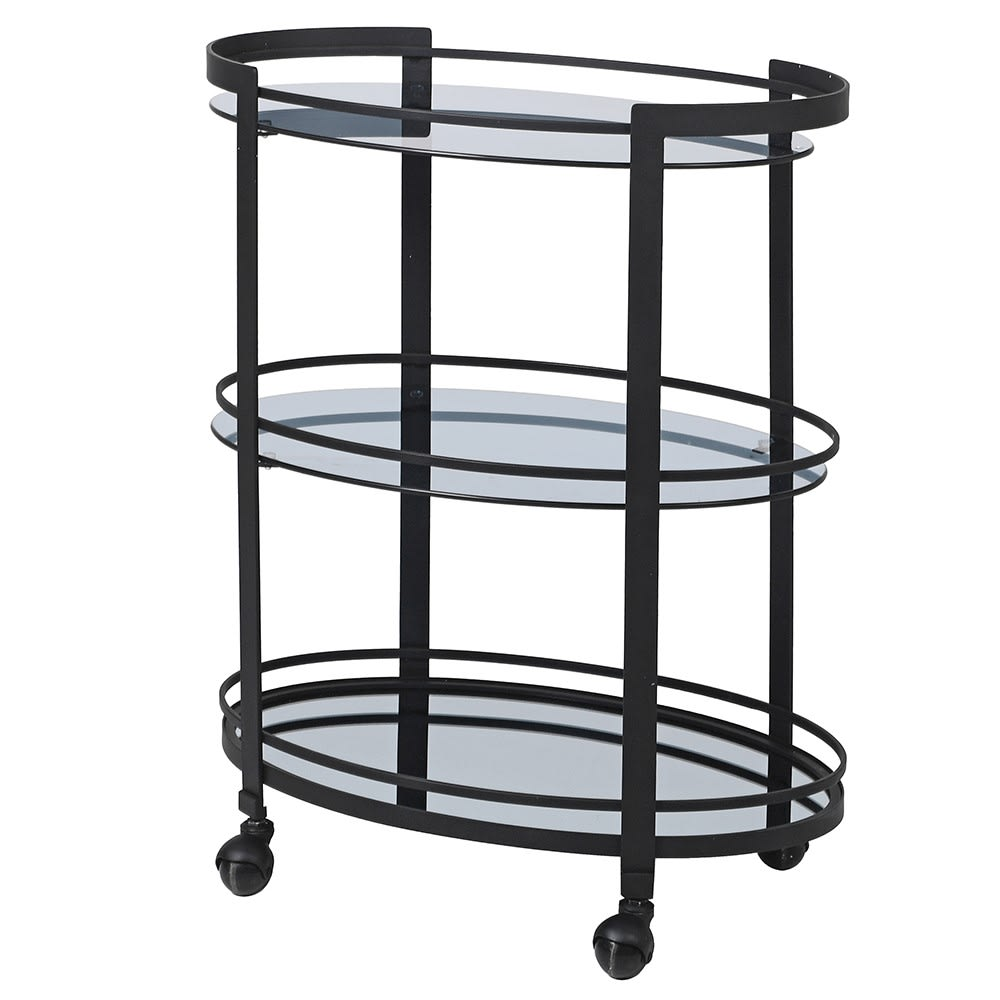 Black Smoked Mirrored Drinks Trolley