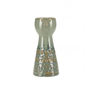 Green Ceramic Face Vase